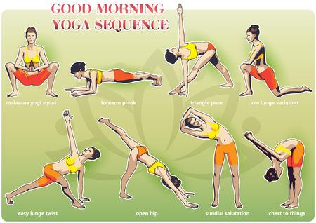 Eine Reihe von Yoga-Stellungen weiblichen Figuren: eine Folge von Übung in Form von kreativen, visuellen Plakat für Morgen-Yoga Vektorgrafik