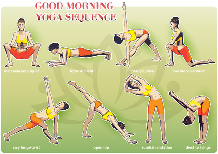 A set of yoga postures female figures: a sequence of exercise in the form of creative, visual poster for morning yoga Illustration