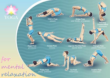 Un conjunto de posturas de yoga figuras femeninas: una secuencia de ejercicios en forma de cartel creativo, visual para la relajación mental.