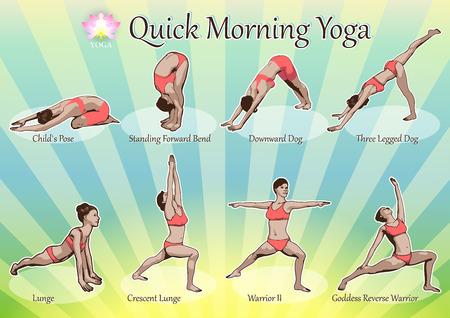 Eine Reihe von Yoga-Stellungen weiblichen Figuren: eine Folge von Übung in Form von kreativen, visuellen Plakat für Morgen-Yoga