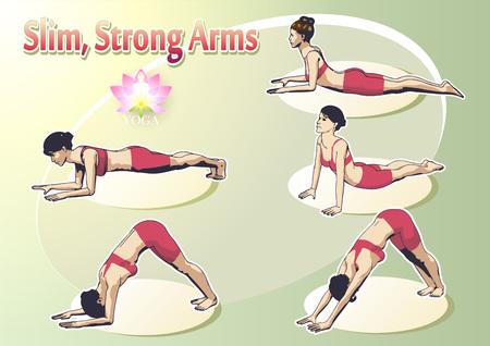 Eine Reihe von Yoga-Stellungen weiblichen Figuren: eine Folge von Übung in Form von kreativen, visuellen Plakat für Slim, starke Arme