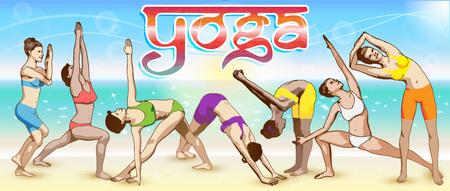 Eine Reihe von Yoga-Stellungen weiblichen Figuren: die Reihenfolge der Übungen in Form von kreativen, visuellen Plakat für Werbung, Banner, Plakate, Postkarten, usw.