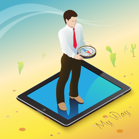 desert oasis: 3d isometric mobile web surfer infographics concept. Conceptual illustration of a businessman on a mobile device with a compass in hand in the middle of the hot desert into an oasis of information.