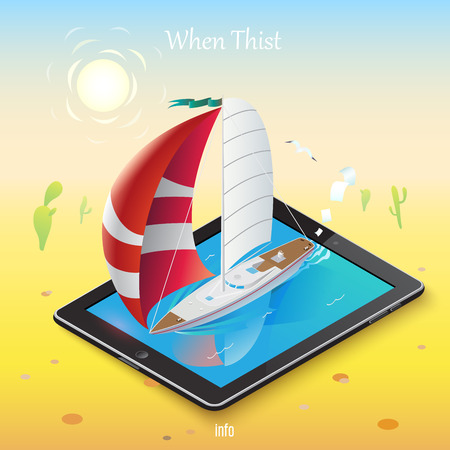 desert oasis: 3d isometric mobile web surfer infographics concept. Conceptual illustration of a sailboat on a mobile device in the middle of the hot desert into an oasis of information. Illustration