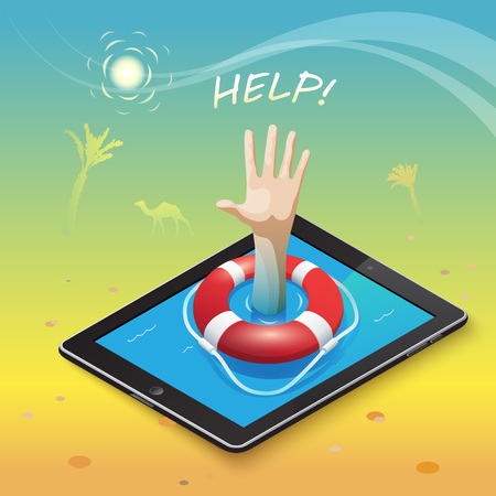 gesticulation: 3d isometric mobile web surfer infographics concept. Conceptual illustration of life buoy on a mobile device and a hand gesture for help in the middle of the hot desert into an oasis of information. Illustration