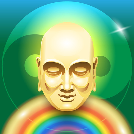 buddha head: image of a gold Buddha head with a rainbow in the form of a body on a green background yin yang symbol. Symbolic image of the mind and body health. Illustration