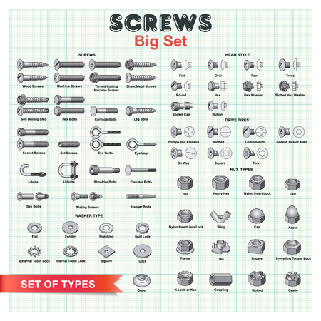 Big set building screws, nuts and bolts on a background of millimeter paper. For installation works as a good example of tools and equipment.