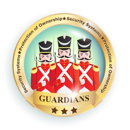 hussar: Sign, emblem,  image with creative characters of soldiers of the old army of the 19th century in red uniforms with guns with business slogans symbolizing a company, organization, company or enterprise.