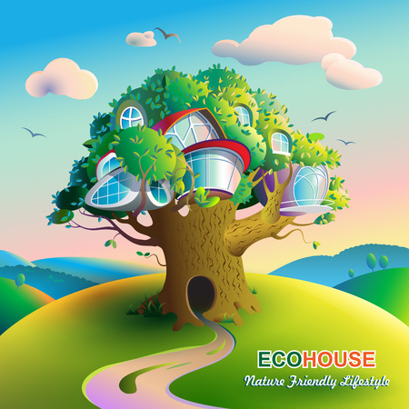 futuristic nature: illustration on the theme of ecological housing. Colorful, bright landscape with a large tree on which there are futuristic houses. Caption: Nature Friendly Lifestyle