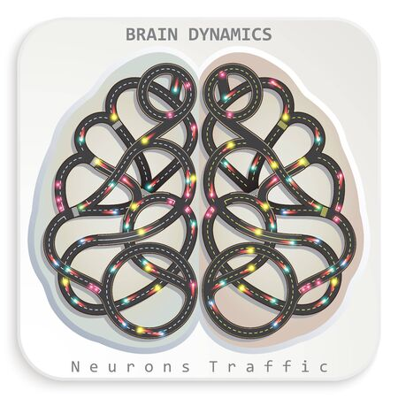 brain illustration: illustration of a human brain in the form of a highway with a moving truck similar to the dynamic movement of neurons. Creative image infographic elements of human activity.