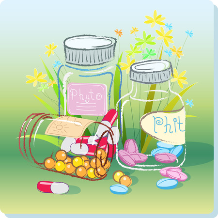 herbal medicine: Medical Illustration transparent bottles with different pills on a background of grass and flowers on the theme of phyto preparations and herbal medicine.