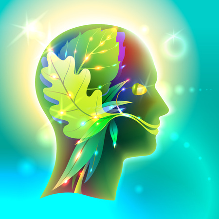 interactions: Graphics Profile of the human head in the form of leaves of various trees. Creative symbol of the connection of man and nature, its organic interactions and interdependencies in ecology and medicine.
