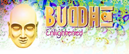 iluminados: ilustración en el tema del budismo con la imagen de la cabeza de Buda en un fondo de signos y símbolos védicos Con inscripción: Buda iluminado. Formato: bandera, cartel, título.