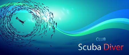 Kreative Illustration zum Thema Tauchen. Bild Taucher unter Wasser Fischschwärme (Ansicht von unten) umgeben ist. Mit Inschrift: Scuba Diver-Club Standard-Bild - 61407672