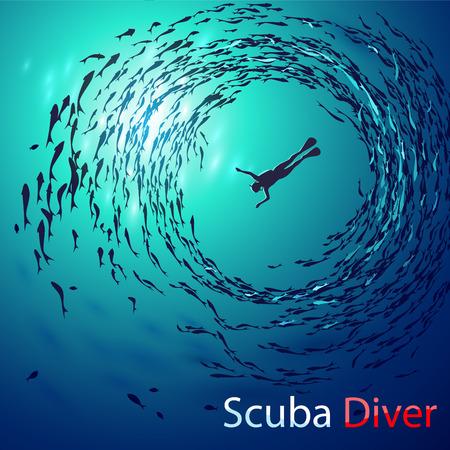 Creatieve illustratie op het thema van het duiken. Afbeelding duiker onder water wordt omgeven scholen vissen (onderaanzicht). Met inscriptie: Scuba-duiker