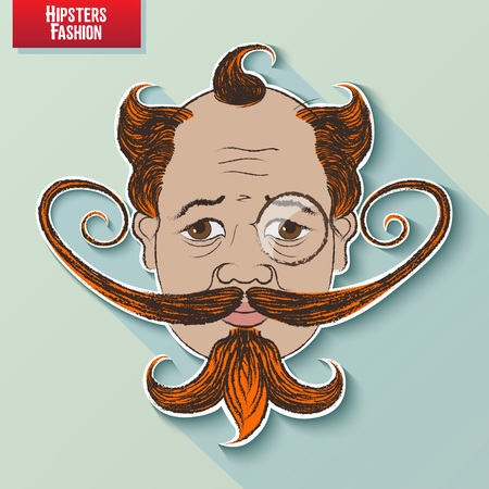 facial features: cartoon image of the human head on the hipster fashion. Styling and creative style exaggeration