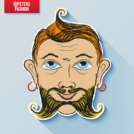 facial features: cartoon image of the human head on the hipster fashion . Styling and creative style exaggeration