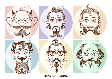 exaggeration: cartoon image icons set of the human head on the hipster fashion . Styling and creative style exaggeration