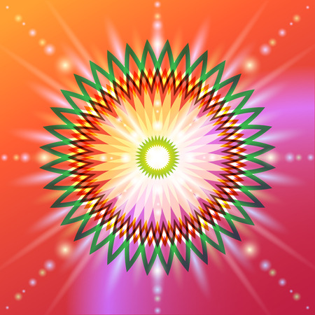 new age: The symbolic image of a flower in sacred geometry. Circular colorful sign of a fundamental aspect of development in the esoteric sense