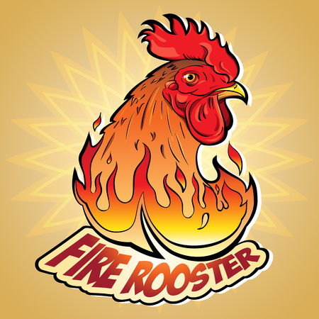 vector image: Creative Vector illustration of New Years symbols: Fire Rooster in the style of comics and cartoons. Image stylized logo, a symbol or a sign with an accompanying inscription: Fire Rooster