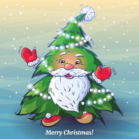 mitten: Vector funny cartoon image of Santa Claus as a Christmas tree. Smiling Santa affably waving his arms like a Christmas tree decorated with garlands on a background of falling snow.