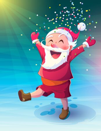 Vector illustration Christmas. Funny cartoon fun walking Santa Claus. Laughs and throws confetti in the rays of light on the snow-covered area.