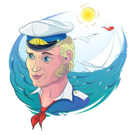 Romantic Vector illustration of sea subjects hand draw. Summer sea landscape with a young captain in the Marine uniform. In the background, a sailboat and a seagull flying.
