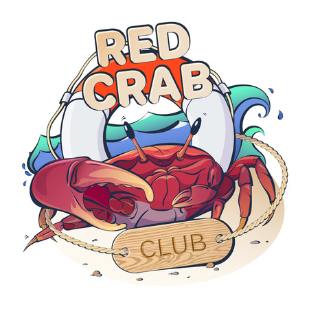 Creative vector logo marine theme with a red crab and life buoy on a background of waves with the inscription: Red Crab Club 向量圖像