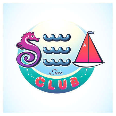 Creative vector illustration of sea subjects logo. The stylized letter S. E. A. : seahorse, waves and sailboat. The round green-blue background with the words: Club.