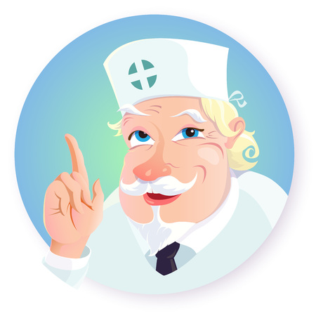 Vector illustration of funny cartoon character - doctor.The old doctor in a white uniform with a kind, smiling facial expression, with a beard and mustache, raised his hand up with a pointing gesture