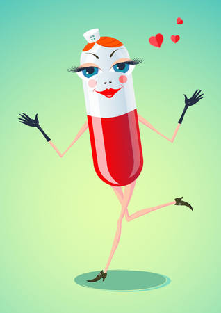 Creative vector illustration with the image of cartoon character Funny Pill. Capsules provided in the form of fun and cheerful nurse exuding hearts.