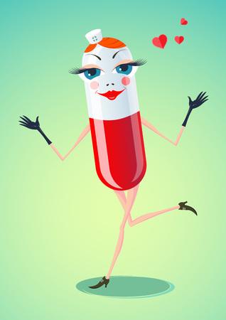 Twórczy ilustracji wektorowych z wizerunkiem postaci kreskówki Funny Pill. Kapsułki dostarczone w formie zabawy i wesołych pielęgniarki wypływający sercach.