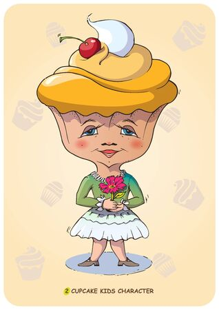 Funny vector illustration of a hand drawn cartoon character kid stylized sweet cupcake. Emotional states sonfectionery caramel and bakery food