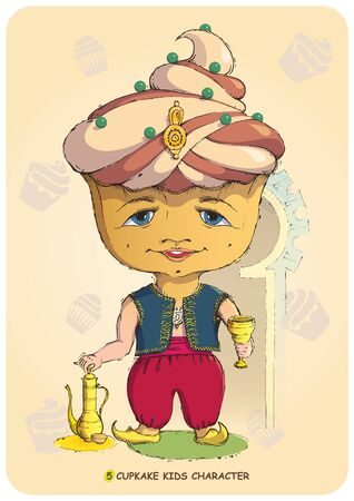 sweettooth: Funny illustration of a hand drawn cartoon character kid stylized sweet cupcake. Emotional states sonfectionery caramel and bakery food