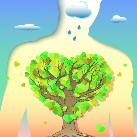 Creative symbolic illustration on clean air and human health. Human lungs are shown as a tree with foliage in the form of heart on the background of the environment