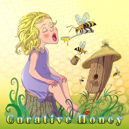Kreative Illustration fördert Verwendung Honig. Cartoon Bild von einem Teenager-Mädchen auf einem Hintergrund des Stockes und die Bienen Honig essen.