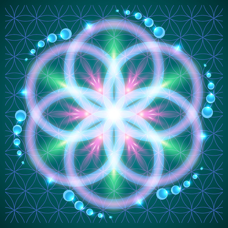 Symbols of sacred geometry, depict fundamental aspects of space and time.Flower of life symbol variations. 向量圖像