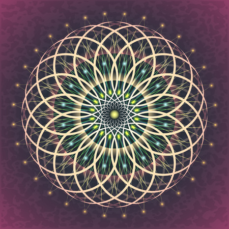 Symbols of sacred geometry, depict fundamental aspects of space and time.Flower of life symbol variations. Illustration