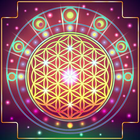 신성한 기하학의 상징은 공간과 시간의 근본적인 측면을 묘사합니다. 삶의 상징 변화들. 일러스트
