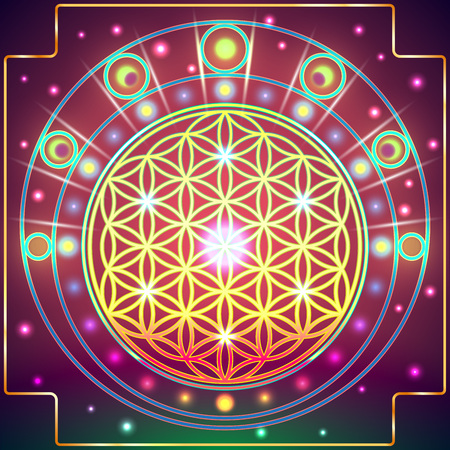 esoterics: Symbols of sacred geometry, depict fundamental aspects of space and time.Flower of life symbol variations. Illustration