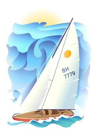 force of the wind: Illustration of sport sailing boat on a sea background. Sport Regatta. Illustration