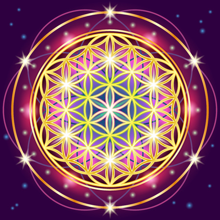 Symbols of sacred geometry, depict fundamental aspects of space and time.Flower of life symbol variations. Иллюстрация