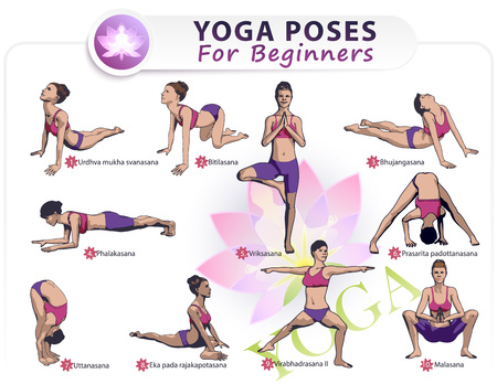 joyfulness: Colorful illustration Set of 10 poses of yoga female figures: a sequence of physical health exercises in the form of a creative visual training poster for beginners. Illustration