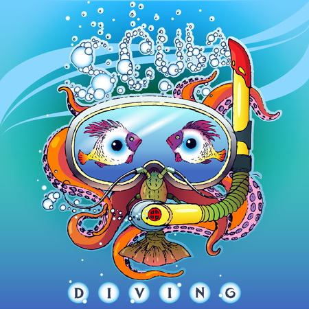 Creative stylized illustration of a logo on a theme of scuba diving. Image of an octopus in aqualung, in a mask for diving with lobster and fish in the form of eyes. With the inscription: Scuba Diving