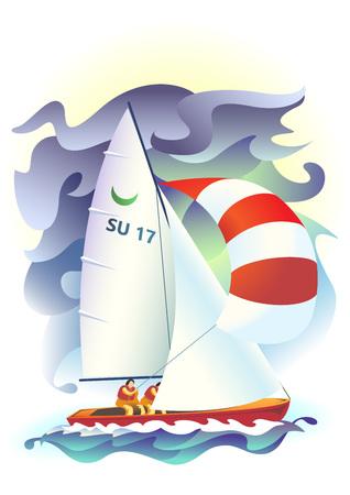 Illustration of sport sailing boat on a sea background. Sport Regatta. 向量圖像