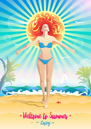 Creative optimistic illustration - poster on the topic of summer beach holidays. A woman in a swimsuit against the background of the sea surf with palm trees and yachts in the rays of the great sun.