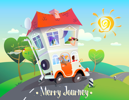 Cheerful creative cartoon illustration on autotravel. A bright, stylized image of a house on wheels with an amusing family that rides along the road against the backdrop of a summer landscape. The inscription Merry Journey