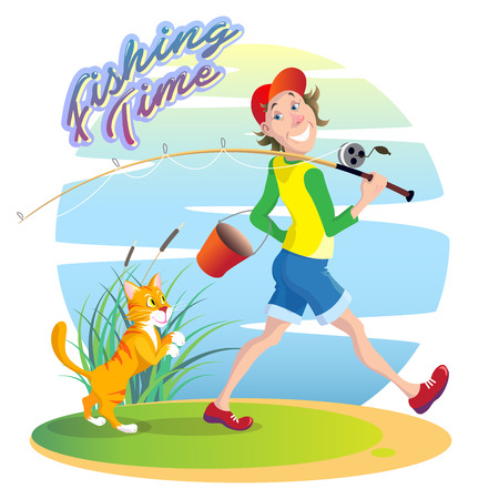 Funny, funny cartoon illustration on the theme of summer fishing. A smiling guy walks on a fishing trip with a bucket and a fishing rod.Caption: Fishing Time
