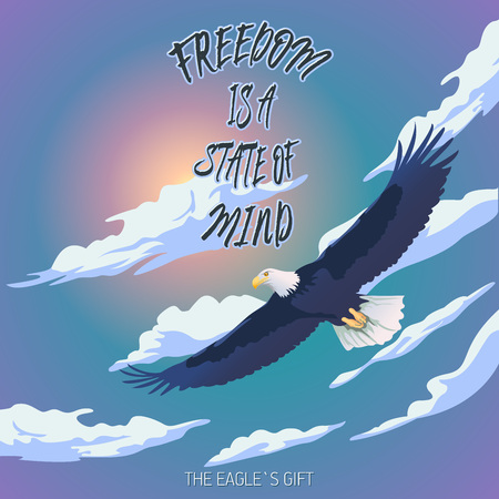 Positive affirmation.Vector hand drawn typography concept. T-shirt design or home decor element. Hand drawn inspirational, affirmations and encouraging quote.Eagle floating against a cloudy sky background
