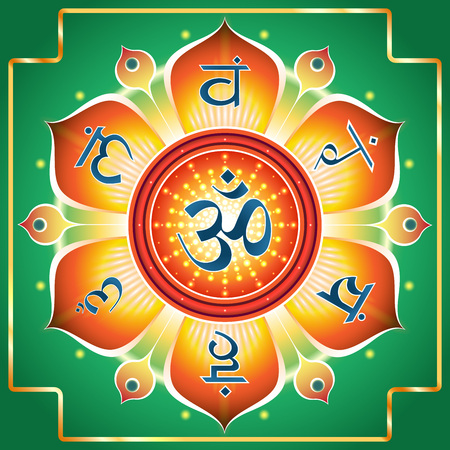 Esoteric creative illustration.Representation of the chakra system in the form of a flower.Red flower on a green background, on the petals of which are symbols of chakras